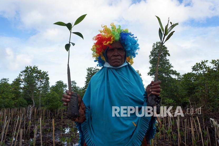 Warga memegang bibit Mangrove di Kampung Maibo, Kabupaten Sorong, Papua Barat, Jumat (17/9/2021). Kegiatan tersebut untuk merestorasi kerusakan hutan Mangrove di Papua Barat seluas 40.000 hektar dan yang kritis sebesar 15.000 hektar.