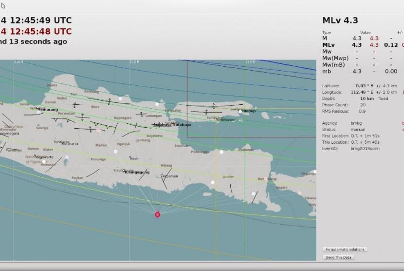Wilayah Kabupaten Malang diguncang gempa bumi tektonik berkekuatan 4,3 SR pada Sabtu (24/8) pukul 19.45 WIB.