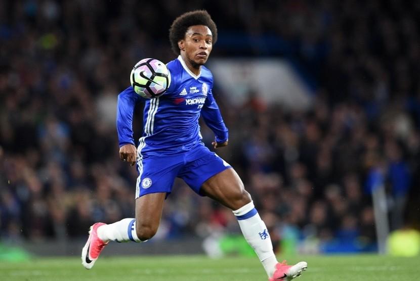 Willian, pencetak gol kedua Chelsea ke gawang Everton pada Piala Liga, Kamis (26/10) dini hari WIB.