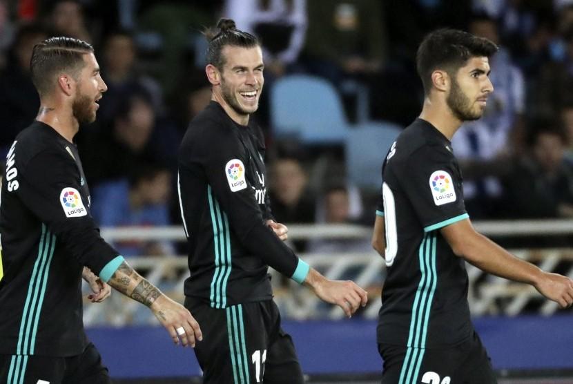 Winger Real Madrid, Gareth Bale pada laga La Liga lawan Real Sociedad di Stadion Anoeta, Senin (18/9) dini hari WIB.
