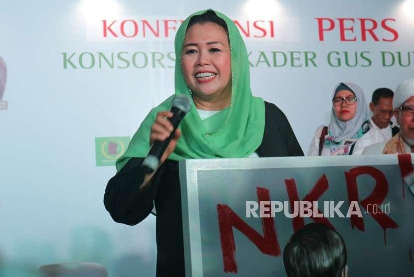 Yenny Wahid deklarasikan dukungan pasangan Joko Widodo - KH Ma'ruf Amin di Rumah Pergerakan Politik Gus Dur, Kalibata, Jakarta Selatan, Rabu (26/9).