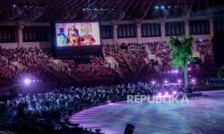 Suasana Upacara Pembukaan PON XX Papua di stadion Lukas Enembe, Kompleks Olahraga Kampung Harapan, Distrik Sentani Timur, Kabupaten Jayapura Papua, Sabtu (2/10). Juru Bicara Pemerintah untuk Penanganan Covid-19 Wiku Adisasmito mengatakan penerapan protokol kesehatan (Prokes) jelang upacara penutupan Pekan Olahraga Nasional (PON) XX masih sama seperti saat pembukaan.