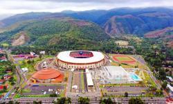 Foto aerial kompleks Olahraga Kampung Harapan yang digunakan sebagai venue PON Papua di Distrik Sentani Timur, Kabupaten Jayapura, Papua, Rabu (22/9/2021).