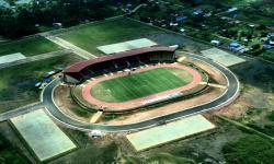 Foto aerial Stadion Katalpal di Kabupaten Merauke, Papua, Rabu (22/9/2021). Stadion tersebut merupakan salah satu venue pada PON Papua di Merauke.