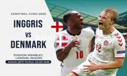 Inggris vs Denmark di semifinal Euro 2020, persaingan sengit antara Raheem Sterling (kiri) dan Kasper Dolberg.