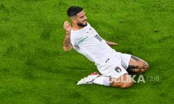 Lorenzo Insigne dari Italia merayakan gol kedua timnya pada pertandingan perempat final kejuaraan sepak bola Euro 2020 antara Belgia dan Italia di Allianz Arena di Muenchen, Jerman, Sabtu (3/7) dini hari WIB.