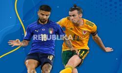 Lorenzo Insigne (kiri) dan Gareth Bale akan beradu ketajaman saat Italia menghadapi Wales dalam laga terakhir Grup A Euro 2020.