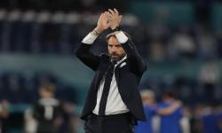 Manajer Inggris Gareth Southgate merayakan setelah pertandingan perempat final UEFA EURO 2020 antara Ukraina dan Inggris di Roma, Italia, 03 Juli 2021.
