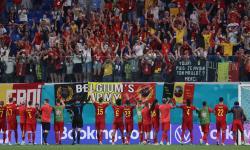 Pemain Belgia merayakan kemenangan dalam pertandingan sepak bola babak penyisihan grup B UEFA EURO 2020 antara Finlandia dan Belgia di St.Petersburg, Rusia, 21 Juni 2021.