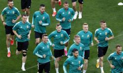 Pemain Hungaria saat sesi latihan tim di Budapest, Hongaria, 14 Juni 2021. Hongaria akan menghadapi Portugal dalam pertandingan sepak bola babak penyisihan grup F UEFA EURO 2020 pada 15 Juni 2021.