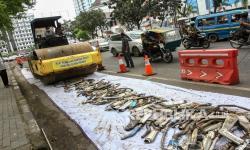 In Picture: Polrestabes Medan Musnahkan Ribuan Knalpot Bising