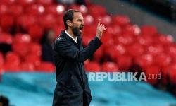 Reaksi manajer Inggris Gareth Southgate pada pertandingan grup D kejuaraan sepak bola Euro 2020 antara Inggris dan Skotlandia di stadion Wembley di London, Sabtu (19/6) dini hari WIB.