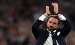 Reaksi manajer Inggris Gareth Southgate setelah memenangkan semifinal UEFA EURO 2020 antara Inggris dan Denmark di London, Inggris, 07 Juli 2021.