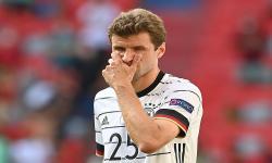Reaksi Thomas Mueller dari Jerman selama pertandingan sepak bola babak penyisihan grup F UEFA EURO 2020 antara Portugal dan Jerman di Munich, Jerman, 19 Juni 2021.