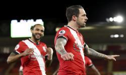 Selebrasi pemain Southampton Danny Ings selepas menjebol gawang Liverpool dalam pertandingan Liga Primer Inggris.