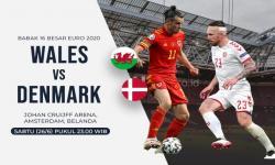 Bintang timnas Wales Gareth Bale vs bintang timnas Denmark Pierre-Emile Hojbjerg (kanan).