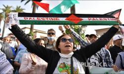 In Picture: Aksi Damai Warga Maroko Dukung Palestina