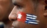 [ilustrasi] Seorang anggota  Aliansi Mahasiswa Papua (APM) menggambar wajahnya dengan bendera Bintang Kejora.