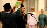 Kepala Badan Siber dan Sandi Negara Djoko Setiadi mengikuti pengambilan sumpah jabatan  Kepala BSSN oleh Presiden Joko Widodo di Istana Negara, Jakarta, Rabu (3/1).