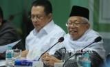 Ketua Umum MUI KH Ma'ruf Amin memberikan pendapat dalam perrtemuan MUI dan ketua DPR RI   di kantor MUI, Jakarta, Selasa (6/2).