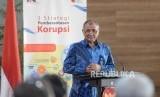 Peresmian Pusat Edukasi Antikorupsi. Ketua KPK Agus Rahardjo menyampaikan sambutan sebelum peresmian Gedung Pusat Edukasi Antikorupsi di Gedung KPK lama, Jakarta, Senin (26/11).