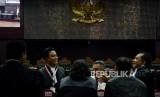 Kuasa Hukum Calon Presiden dan Calon Wakil Presiden nomor urut 01 Yusril Ihza Mahendra saat menghadiri sidang perdana Perselisihan Hasil Pemilihan Umum (PHPU) Pemilihan Presiden (Pilpres) 2019 di Gedung Mahkamah Konstitusi, Jakarta, Jumat (14/6).