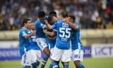 Selebrasi tim Persib Bandung pada pertandingan leg kedua Piala Indonesia babak 32 besar antara Persib Bandung melawan Persiwa Wamena di Stadion si Jalak Harupat, Soreang, Senin (11/2).