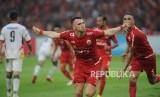 Penyerang Persija Jakarta Marko Simic melakukan seusai mencetak gol ke gawang Mitra Kukar dalam laga Liga 1 2018 di di Stadion Utama Gelora Bung Karno, Jakarta, Ahad (9/12).