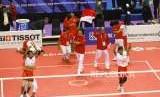 Emas Dari Quadrant Takraw. Tim Sepak Takraw Indonesia melakukan selebrasi usai memenangi pertandingan melawan Tim Jepang pada babak final cabang Sepak Takraw nomor Quadrant Putra Asian Games 2018 di Komplek Olahraga Jakabaring, Sabtu (1/9).