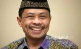Ustadz Imam Shamsi Ali memberikan paparannya saat kunjungan di Kantor Republika, Jalan Warung Buncit, Jakarta, Jumat (23/3).