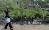 Sejumlah warga melintas di dekat tanaman mangrove di Pantai Bukit Batu, Bengkalis,.
