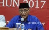 Ketua KPK Agus Rahardjo  menyampaikan paparan capaian kinerja KPK pada 2017 di Gedung KPK Jakarta, Rabu (27/12).