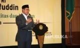 Menteri Agama Lukman Hakim Saifuddin memberikan sambutan saat peresmian Aplikasi Pencatatan Nikah (SIMKAH) Web dan Kartu Nikah di Auditorium Kementerian Agama, Jakarta, Kamis (8/11).