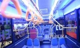 Armada Transjakarta Electric Vehicle. Bus baru ramah lingkungan Transjakarta Electric Vehicle ditampilkan saat Busworld South East Asia di Ji Expo, Kamis (21/3/2019).