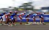 Sepatu Roda Nihil Medali. Atlet bertanding pada cabang Sepatu Roda nomor Balap 20km Putri Asian Games 2018 di Komplek Olahraga Jakabaring, Palembang, Jumat (31/8).