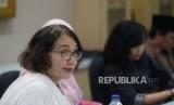 Polemik RUU PKS. Komisioner Komnas Perempuan Magdalena Sitorus menyampaikan paparan saat kunjungan ke Republika, Jakarta, Rabu (20/3/2019).