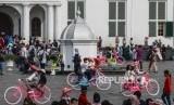 Taman Fatahillah, Kota Tua, Jakarta Barat. Kali Besar Timur akan jadi spot instagramable di Kota Tua untuk mengurai kerumunan di Taman Fatahillah.