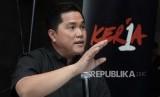 Ketua TKN, Erick Thohir memberikan paparan dalam acara kamis kerja di  Jakarta, Kamis (13/12).
