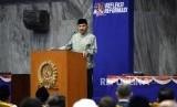 Refleksi Reformasi. Tokoh Reformasi Amien Rais memberikan paparan saat 20 Tahun Refleksi Reformasi di Komplek Parlemen Senayan, Jakarta, Senin (21/5).