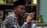 Menteri Pendidikan dan Kebudayaan Muhajir Effendy saat melakukan kunjungan di Kantor Republika, Jakarta, Selasa (2/1).