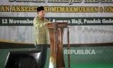 Wakil Presiden sekaligus Ketua Dewan Masjid Indonesia Jusuf Kalla memberikan sambutan saat pembukaan Muktamar Dewan Masjid Indonesia (DMI) ke-7 yang bertajuk