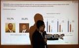 CEO Alvara Research Center Hasanuddin Ali memberikan paparanya saat rilis survei nasional ' 3 Kunci Kemenangan Pilpres 2019 di Jakarta, Ahad (26/8).