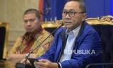 Ketua Umum PAN Zulkifli Hasan didampingi Ketua Fraksi PAN DPR RI Mulfachri Harahap. Keduanya kini bersaing untuk memperebutkan kursi PAN 1.