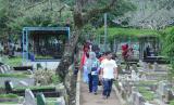 Pengunjung berjalan di antara pemakaman di komplek Tempat Pemakaman Umum (TPU) Cikutra, Kota Bandung, Selasa (26/5). Akibat pemberlakukan Pembatasan Sosial Berskala Besar (PSBB) di tengah pandemi Covid-19, Lebaran kali ini, pengunjung ziarah kubur di TPU Cikutra tidak seramai tahun lalu
