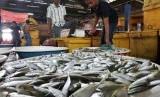 Seorang pedagang menyortir ikan yang dijual di sentra perikanan Pelabuhan Perikanan Muara Angke, Jakarta, Selasa (14/10).  (Antara/OJT/Michael Siahaan)