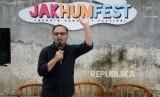 Direktur Eksekutif Dompet Dhuafa Imam Rulyawan memberikan sambutan pada pembukaan acara Jakarta Humanity Festival (Jakhunfest) 2020 di M Bloc Space, Jakarta, Ahad (26/1).