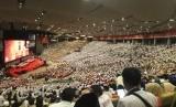 Peserta Konferensi Nasional (Konfernas) Partai Gerindra memadati auditorium Sentul Internasional Convention Center (SICC), Bogor, Jawa Barat, Senin (17/12).