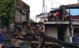 Kondisi lokasi kebakaran di Tomang, Jakarta Barat, Selasa (22/1).