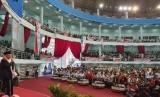 Cawapres KH. Ma'ruf Amin saat menghadiri deklrasi Jaringan  Kiai Santri Nasional (JKSN) dan Alinasi Masyarakat Kalimantan Timur di  Gedung Dome, Balikpapan, Kamis (21/3).