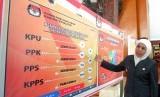 Gubernur Jawa Timur Khofifah Indar Parwansa melihat papan data persiapan pelaksanaan pemilu 2019 saat berkunjung di Blitar, Jawa Timur, Selasa (16/4/2019).